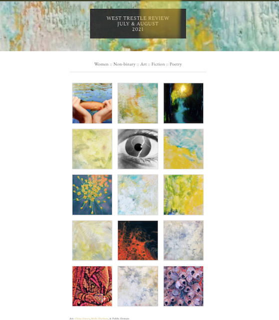 Screen shot of the splash page for West Trestle Review July and August issue. Tile images include multicolored encaustic art pieces and photographs.
